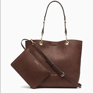 Calvin klein brown Faux Leather Tote bag wit pouch
